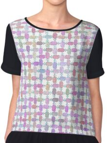 Melting Ice Cream Popsicle Cross Weave Small Pattern White Chiffon Top