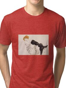 Egon Schiele - Woman In Black Stockings 1913 Tri-blend T-Shirt