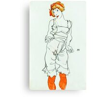 Egon Schiele - Woman in Underclothes and Stockings (Wally Neuzil) (1913)  Canvas Print