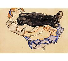Egon Schiele - Woman With Blue Stockings 1912 Photographic Print