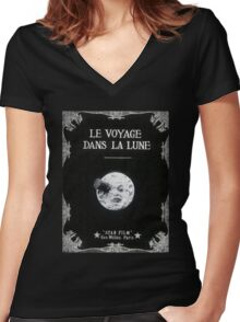 Trip to the Moon Women's Fitted V-Neck T-Shirt