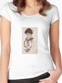 Egon Schiele - Young Boy 1918 Women's Fitted Scoop T-Shirt