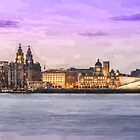 Panoramic Liverpool cityscape oil painting effect by Paul Madden