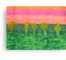 Trees, Green and Evening Sky Canvas Print