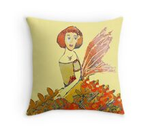 Orange Fairy Flower Gown  Throw Pillow