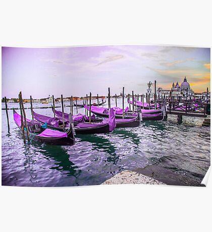 Purple Gondolas Poster