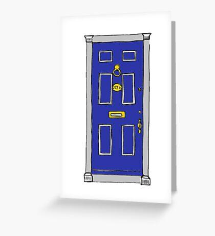 221b Baker Street Door (Sherlock) - Blue Greeting Card