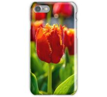 red tulips on green blurred background  iPhone Case/Skin