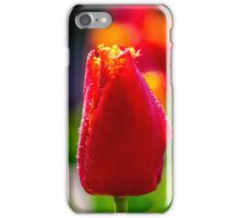 red tulip on green blurred background  iPhone Case/Skin
