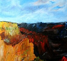 Arizona Desert Landscape Acrylics On Canvas Board by JamesPeart
