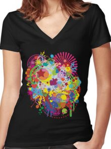 Colorplosion Women's Fitted V-Neck T-Shirt