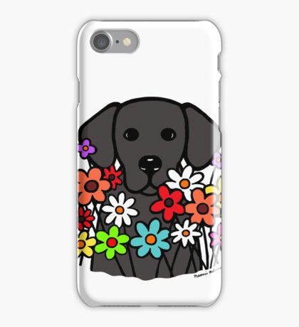 Beautiful Black Labrador Flowers iPhone Case/Skin