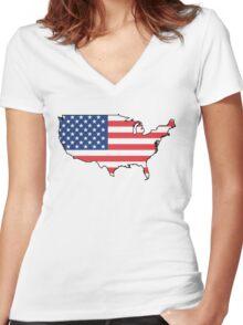 United States Flag Design Women's Fitted V-Neck T-Shirt