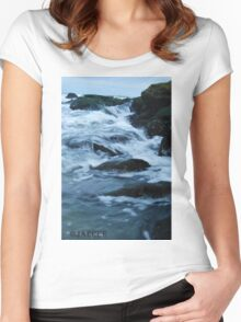 Streaming waves - Long Beach, NY Women's Fitted Scoop T-Shirt