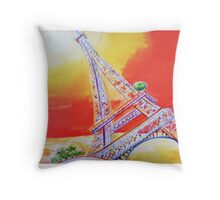 Up the Eiffel Tower Throw Pillow