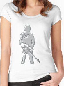 mercury art the rock legend with guitar on back silver metal Women's Fitted Scoop T-Shirt