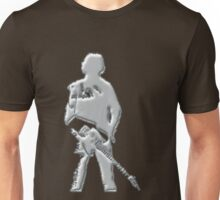 mercury art the rock legend with guitar on back silver metal Unisex T-Shirt