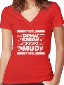 Rally – tarmac snow gravel mud (2) Women's Fitted V-Neck T-Shirt