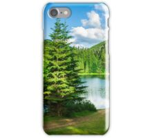 lake near the mountain in pine forest iPhone Case/Skin