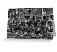 Yellow Bicycles In Monochrome Greeting Card