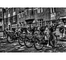 Yellow Bicycles In Monochrome Photographic Print