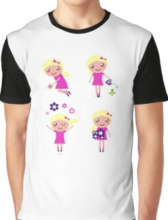 Little gardener Girl. Vector cartoon girls. Graphic T-Shirt