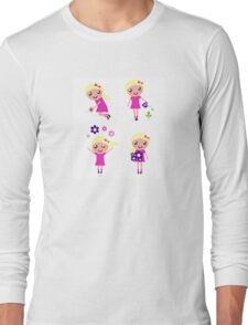 Little gardener Girl. Vector cartoon girls. Long Sleeve T-Shirt