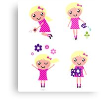 Little gardener Girl. Vector cartoon girls. Metal Print