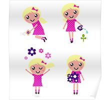 Little gardener Girl. Vector cartoon girls. Poster
