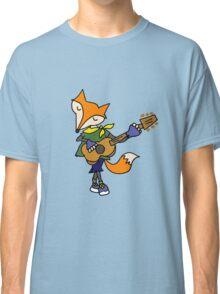 Cool Artsy Foxy Red Fox Playing Guitar Classic T-Shirt