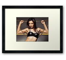 Sexy asian woman in black leather bra art photo print Framed Print