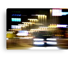 Car in street in urban city lights with distortion effect Canvas Print