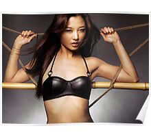 Sexy asian woman in black leather bra leaning against ropes art photo print Poster