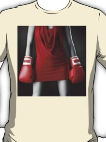Woman in sexy red dress wearing boxing gloves art photo print T-Shirt