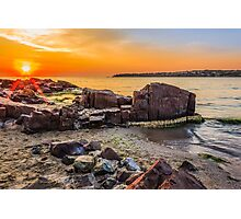 red sun rise landscape over the sea on sandy beach Photographic Print