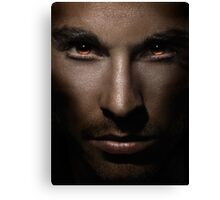 Closeup of man face with shining fierce eyes art photo print Canvas Print