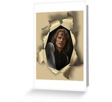 Jamie in pop-out paper tear frame with calligraphy. Greeting Card