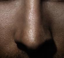 Closeup of man face with shining fierce eyes art photo print Sticker