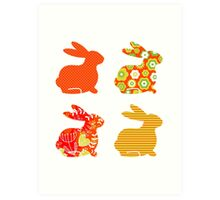 Easter abstract bunny collection : Designers Edition Art Print