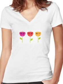 Cute colorful tulips. This is authors Illustration. Women's Fitted V-Neck T-Shirt
