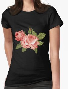 Vintage Pink Colored Roses  Womens Fitted T-Shirt