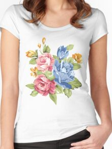 Vintage Pink and Blue Colored Roses  Women's Fitted Scoop T-Shirt