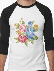 Vintage Pink and Blue Colored Roses  Men's Baseball ¾ T-Shirt