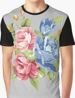 Vintage Pink and Blue Colored Roses  Graphic T-Shirt