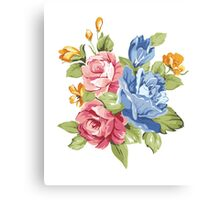 Vintage Pink and Blue Colored Roses  Canvas Print