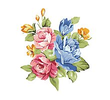 Vintage Pink and Blue Colored Roses  Photographic Print