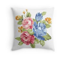 Vintage Pink and Blue Colored Roses  Throw Pillow
