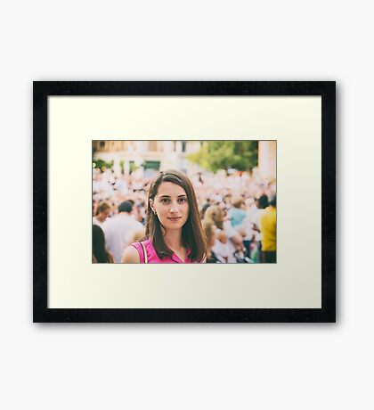 Cute Girl Portrait With Crowd Of People In Background Framed Print
