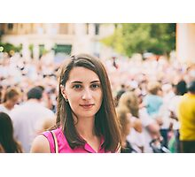 Cute Girl Portrait With Crowd Of People In Background Photographic Print