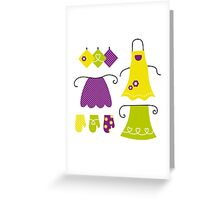 Stylized vintage apron collection - 60s and 70s Inspired Design Collection Greeting Card